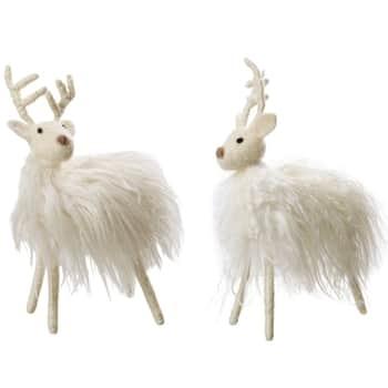 Vánoční dekorativní vlněný sob White Reindeer