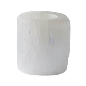 Svietnik na čajovú sviečku Selenite White
