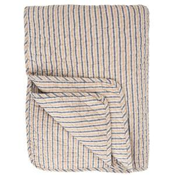 Prošívaná deka Stripes Blue/Beige 130x180 cm