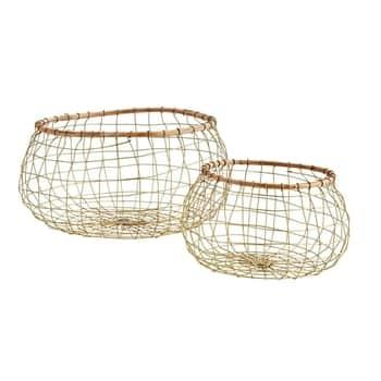 Drátěný koš Bamboo & Antique Brass