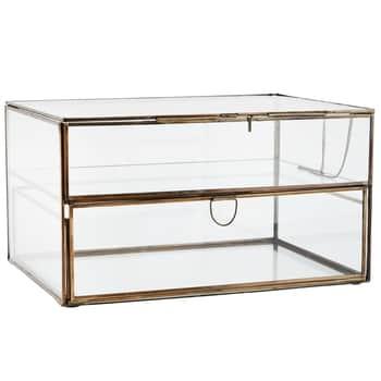 Dvojposchodový sklenený box so šuplíkom Antique Brass