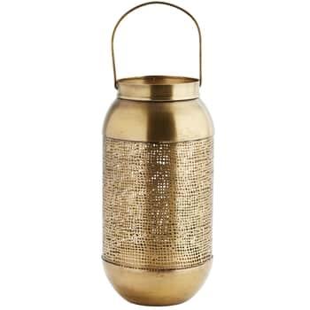 Kovový lampáš Antique Brass Perforated