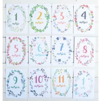 Míľnikové kartičky pre bábätká 1 - 12 mesiacov