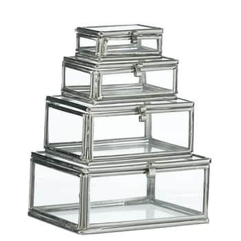 Mini sklenené krabičky Silver - set 4 ks