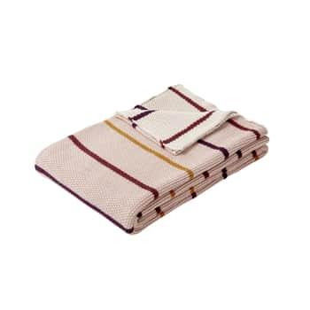 Pletený bavlnený prehoz Bordeaux & Mustard 130 x 200 cm
