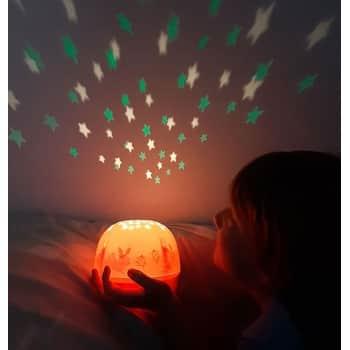 Dětská LED lampička sprojektorem noční oblohy Bunny