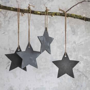 Vánoční ozdoby hvězdičky Slate - set 4 ks