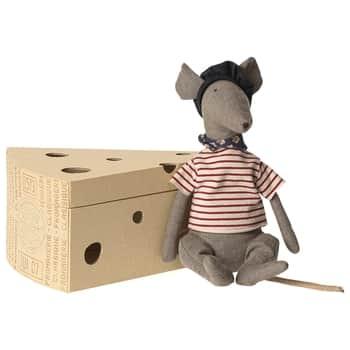 Lněná hračka vkrabičce od sýru Rat Grey