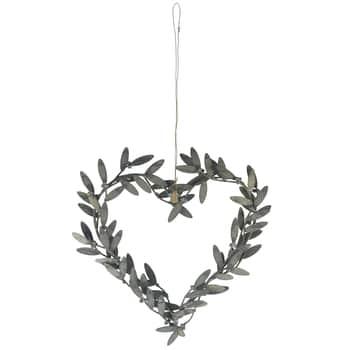 Závěsné kovové srdce Mistletoe leaves