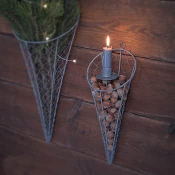 Drôtený závesný kornút na dekorácie