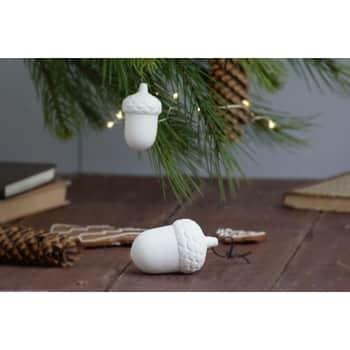 Porcelánová vianočná ozdoba White Acorn