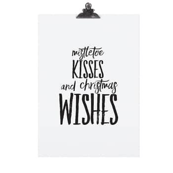 Plakát Mistletoe Kisses 30x42 cm
