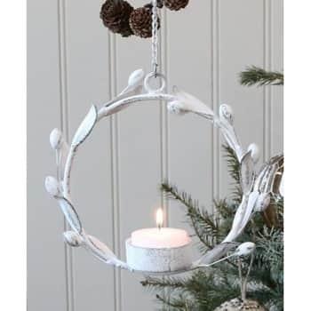 Kovový svícen White Wreath For Tea Light ⌀ 13 cm