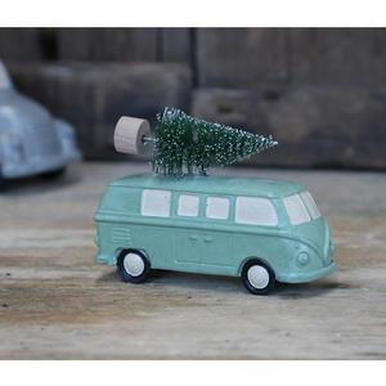 Adventní dekorace Green Hippie Van With Tree