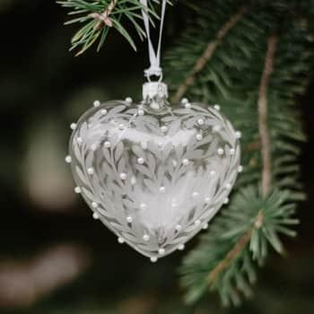 Skleněná vánoční ozdoba Leaves and Pearls - srdce