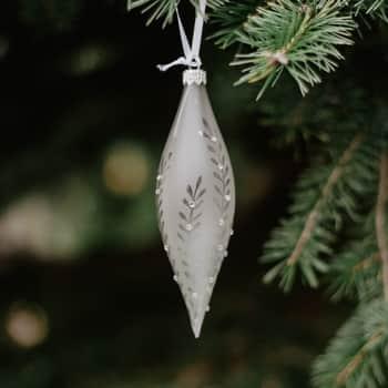 Skleněná vánoční ozdoba Leaves Matt grey - raketa