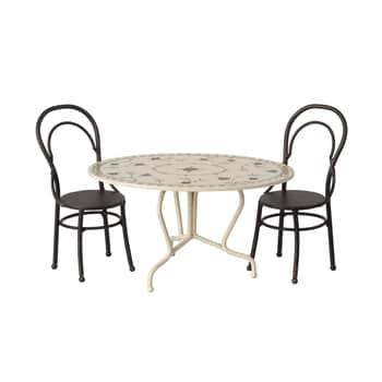 Kovový stůl se židlemi pro zvířátka Maileg Mini