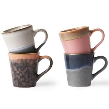 Sada 4 keramických hrněčků 70's Espresso Mugs