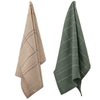 Bavlněné utěrky Green Beige 2 ks