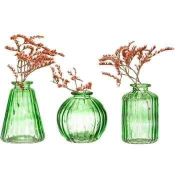 Sada skleněných váz Green Glass 3 ks
