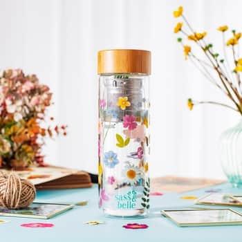 Sklenená fľaša na čaj so sitkom Flowers