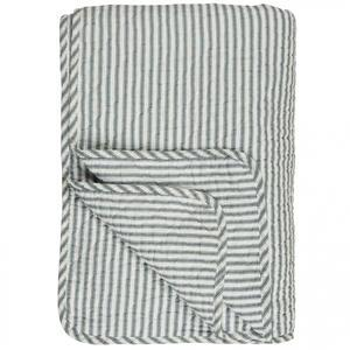 Prešívaná deka White with Bluegrey Stripes 130x180 cm