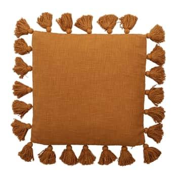 Bavlnený vankúš svýplňou Brown Fringes 45x45