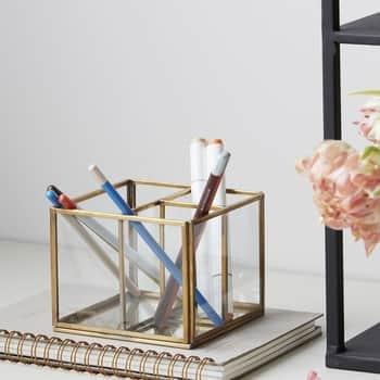 Skleněný stojánek na tužky Brass Storage