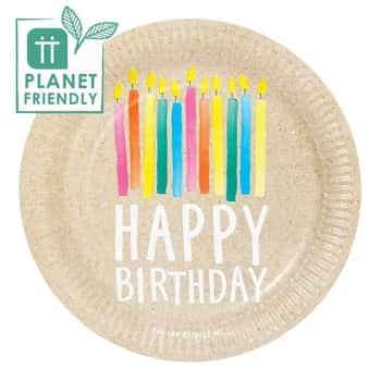 Papierové taniere Happy Birthday Recyclable – 12 ks