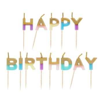 Tortové sviečky Happy Birthday Pastel