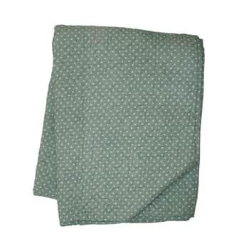 Prošívaný bavlněný přehoz Dots Dusty Green 130x180cm