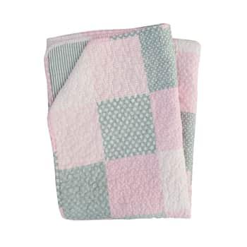 Prošívaný bavlněný přehoz Pink Patchwork 130x180cm
