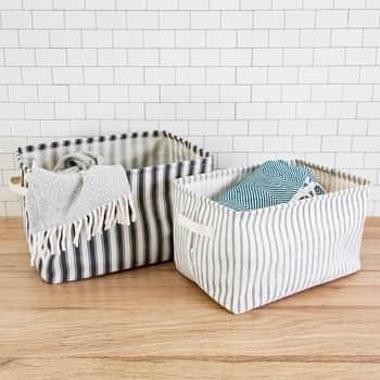 Úložný textilní koš Ticking Stripe - set 2ks