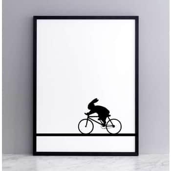 Sítotisk skrálíkem cyklistou Racing Bike Rabbit