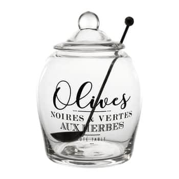 Skleněná dóza na olivy Olive