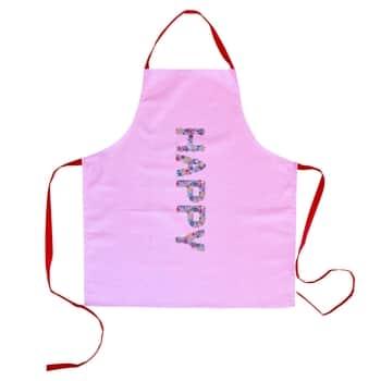 Bavlněná zástěra Happy Pink Print