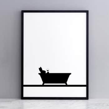Sítotisk skrálíkem ve vaně Bathtime Rabbit 30 × 40 cm