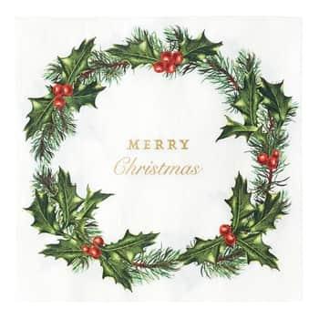 Papírové ubrousky Holly Wreath 33 × 33 cm