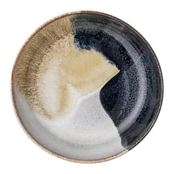 Nízká kameninová miska Jules Blue/Cream/Sand