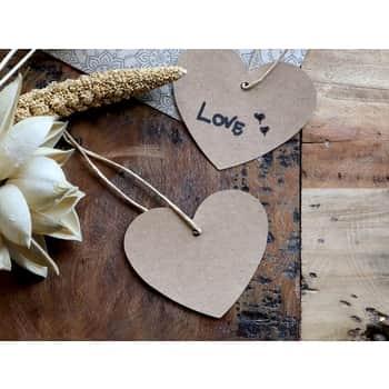 Papierový štítok Brown Paper Heart 5×7 cm
