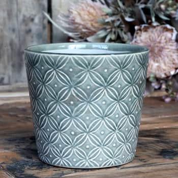 Keramický obal na kvetináč Antique Verte Green 13 cm