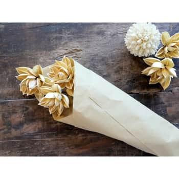 Umelý dekoratívny kvet Dried Dahlia - 3 ks