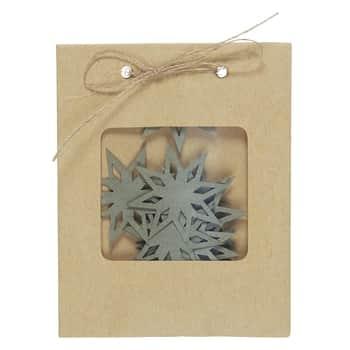 Samolepicí papírové vločky Grey Snow Crystals - 9 ks