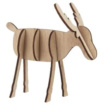 Dekorativní dřevěný sob Natural 10 cm