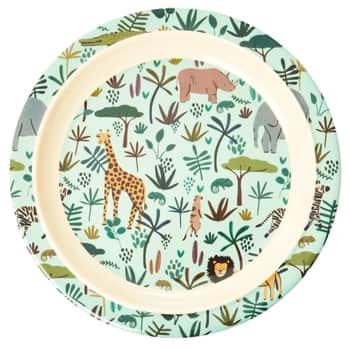 Melaminový talíř Jungle Animals Green 22,5 cm