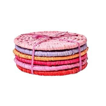 Raffiové podtácky Pink Raffia - 6 ks