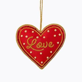 Vianočná ozdoba Red Love Heart Zari Embroidery