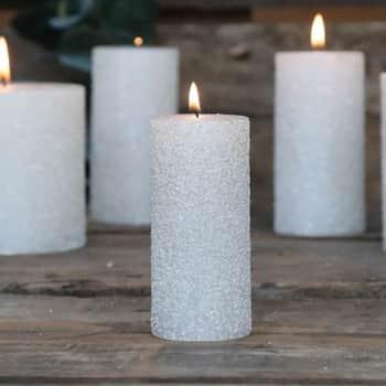 Okrúhla sviečka Rustic Glitter Cream 11 cm