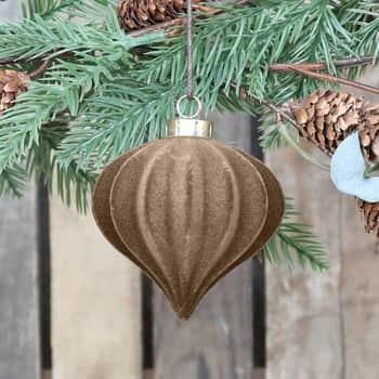 Velurová vánoční ozdoba Latte 11 cm