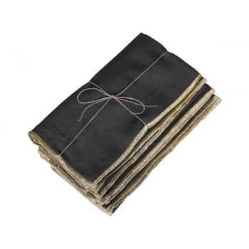 Látkový ubrousek Golden Edge Coal 40×40 cm - set 4 ks